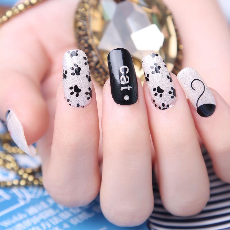 2016 rato etiqueta do prego manicure francês produtos de beleza 3d design de unhas polonês deslizante decoração de unhas verão estilo da folha da arte do prego(China (Mainland))