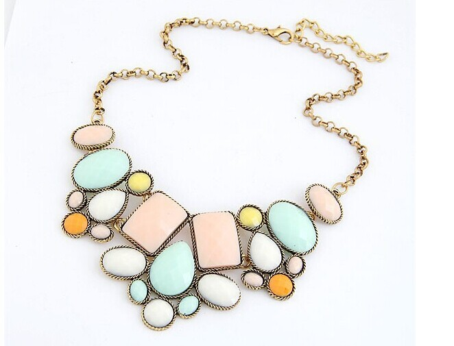 Min order is $6 (mix order)European and American retro exaggerated drop irregular geometry hit color short necklace Korea(China (Mainland))