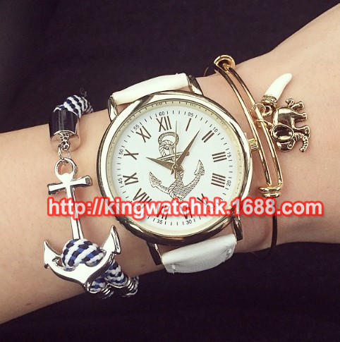 100ps/lot, Fashion Retro Stripes leather brand Watch ladies Women Anchors Watches Dress Ladies Lime Analog Quartz Watch<br><br>Aliexpress