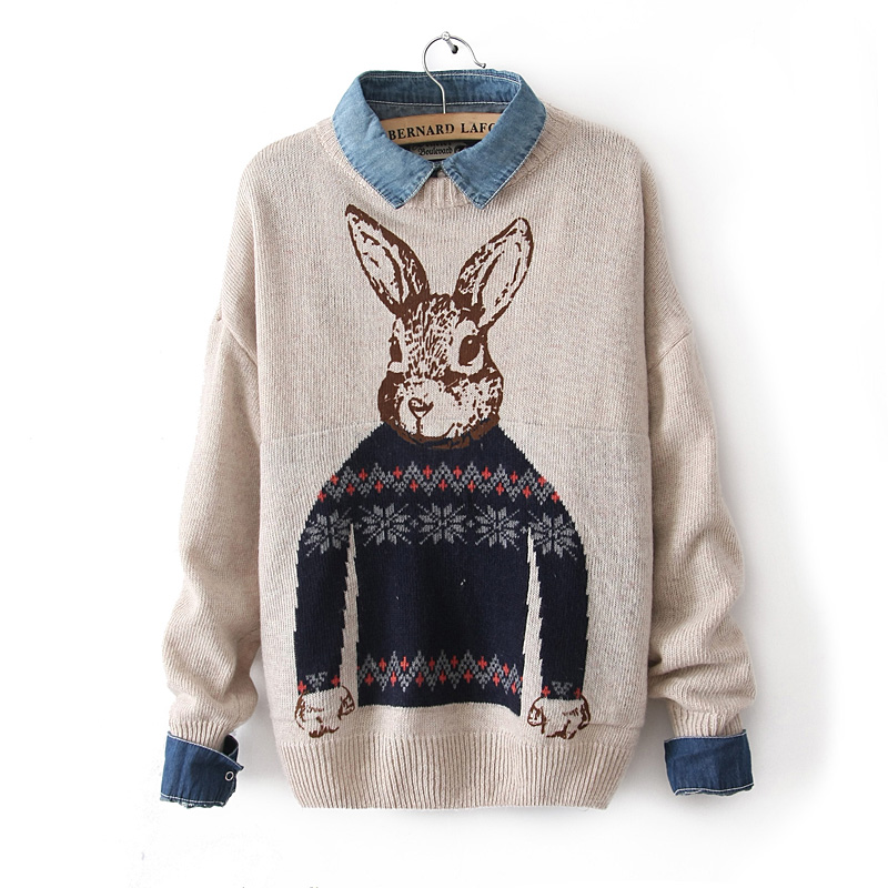 Rabbit Sweater Knitting Pattern : Winter mr peter rabbit pattern print knitted pullover