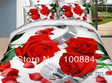Red flowers duvet cover sets, Latest design and discount gray quilt covers size Full / Queen .100% cotton floral bedspreads(China (Mainland))