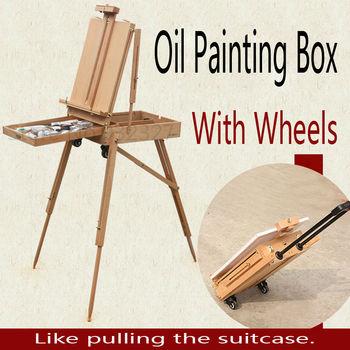 Деревянный картина маслом коробка с тягой и ролик, подходит для наружного картина маслом
