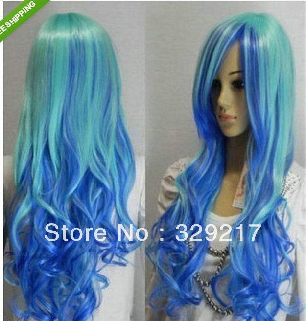 "suyushun345077+++ Hot -24""/60cm Cosplay long blue mixed curly Hair women manufacturing wig(China (Mainland))"