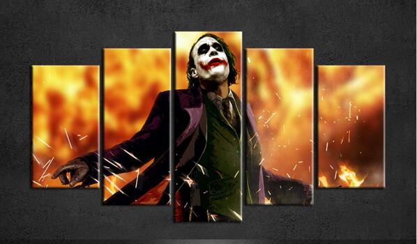 2015 new batman joker poster wall painting canvas art group poster of 5 piece canvas art for living wall frame oil paintings(China (Mainland))