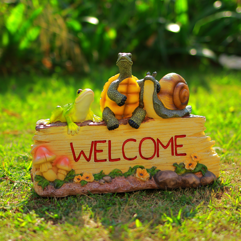 Cute Animal Figurine Welcome Board Ornamental Resin Greeting Tablet Trinket Craft Accessories for Indoor and Garden Decoration(China (Mainland))