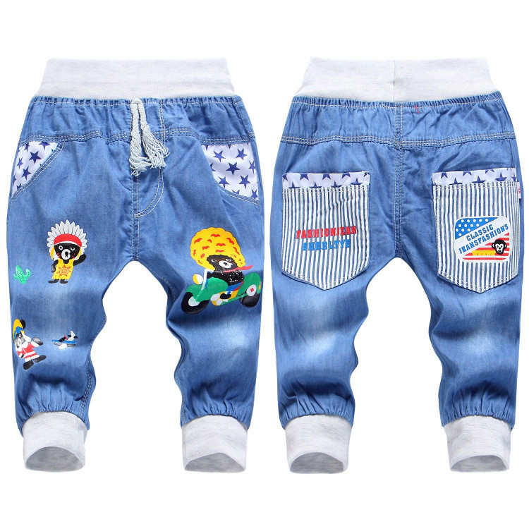2016 New Fashion Kids Jeans Elastic Waist Straight Cartoon Jeans Denim Seventh Pants Retail Boy Jeans For Kids 2-5 Y WB141 (7)