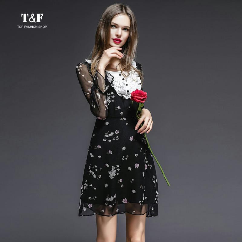 2016 Spring Fashion High-end Women Elegant O Neck Long Sleeve Printed Pure Silk Black Dress Slim Ruffles Print Summer Dresses