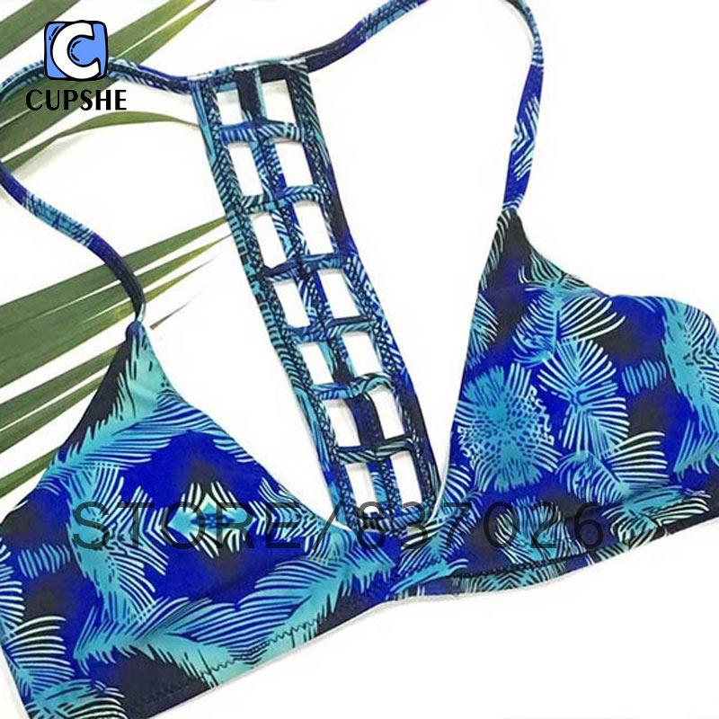 Cupshe 2016 New Deep Water Floral Printing Women Bikini Summer Sexy Fashion Swimsuit Push Up Bikini