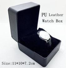 Filete puro cuero negro reloj venta al por mayor caja de alto grado de la PU cajas de reloj caja de accesorios caja de regalo mira 17 puede personalizar LOGO