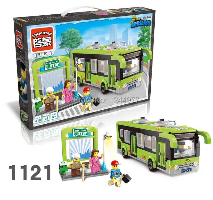City Bus Enlighten 1121 City Bus Station Bricks Toys Minifigure 418PCS Building Block sets Toys Compatible With Lego(China (Mainland))