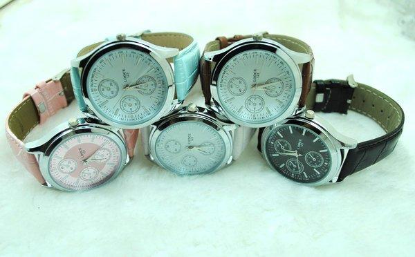 123 Free Shipping 5 pcs/lot Leather Band New Design men's Watch Lady's Watch,Wrist Watch(China (Mainland))