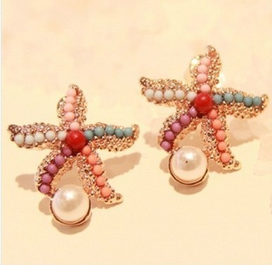2015 hot new design fashion brand spring jewelry starfish pearl stud earrings for women Statement earings