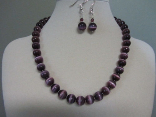 """FREE shipping>>>>> 10MM """"Purple Passion"""" Cat Eye Necklace and Earrings 18"""" AAA(China (Mainland))"""