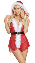 Buy Red See Mesh Transparent Deep V Neck Santa Claus Xmas Christmas Erotic Sexy Lingerie Women Costume Babydoll Hooded Dress