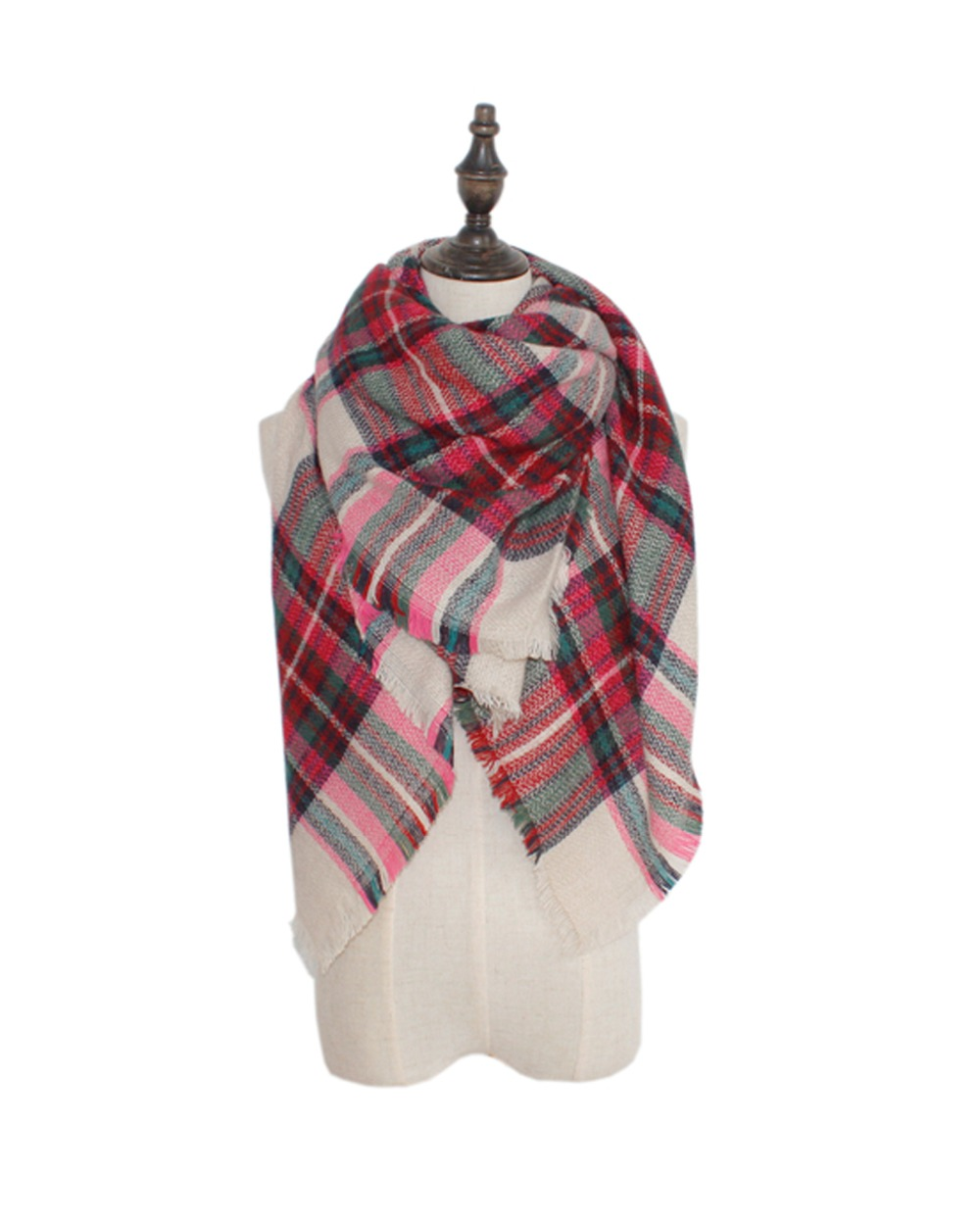 Woman Warm Mint Knit Snug font b Tartan b font Fringe Blanket Scarf American Style MutifuNctional