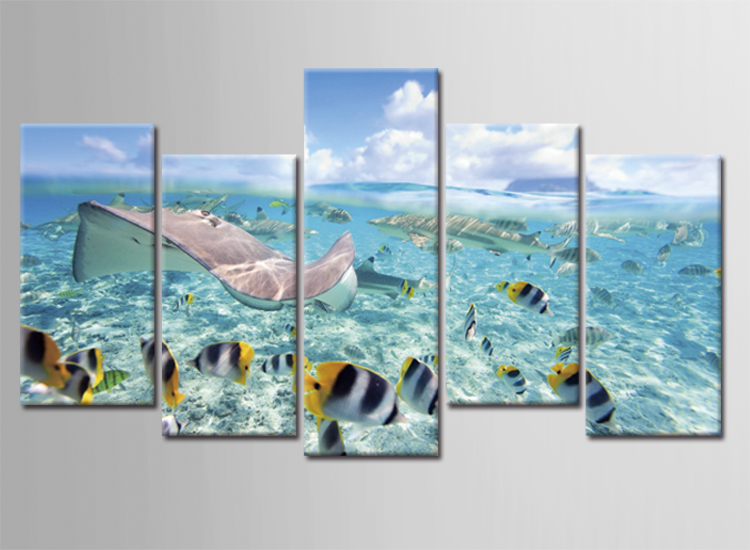5 Piece Canvas Art Printing Photo Beautiful fish Painting Custom Canvas Print On Canvas Printing Wall Pictures Home Decoration(China (Mainland))