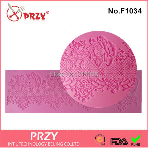 new style Chocolate decoration silicone fondant lace Mold Mould cake decoration pastry tools Lace mould No.f1034 Free shipping(China (Mainland))
