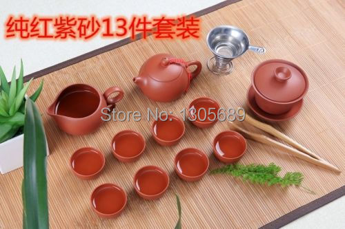 13pcs Tea set zisha~red outside&red inside~Chinese tea pot stoneware tea cup gaiwan gongdao fair cup Chinese gift promotion(China (Mainland))