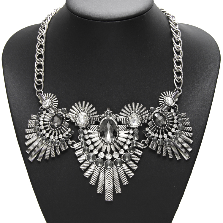 New Design Indian feathers Vintage Punk Crystal Necklace &Pendant Statement Chunky Metal Fashion Jewelry For Women NK199(China (Mainland))