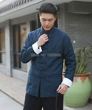 2015 new Chinese Men's tradional Mandarin Linen Casual jacket coat Navy blue Size: M L XL XXL XXXL(China (Mainland))