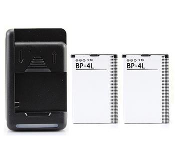 2x 1500mAh Battery +Wall Charger For Nokia E52 E55 E63 E71 E72 E73 N810 N97 E90 E95 6790 6760 6650 BP-4L