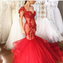 Cheap Red Sexy Sweetheart Sequins Lace Tulle Mermaid Long Formal Evening Dress 2017(China (Mainland))