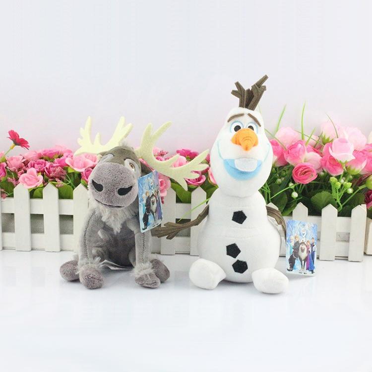 2Pcs/lot 20CM Olaf Snowman Plush Toy Sven Milu Deer Toys Princess Elsa plush Anna stuffed Plush Doll Toys for boys girls gift(China (Mainland))