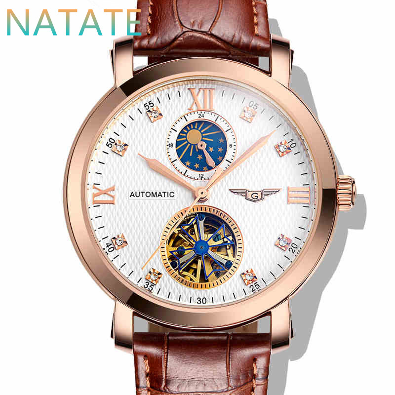 Здесь можно купить  NATATE Guanqin Men Automatic Self-winding Luxury 100m Waterproof Tourbillon Moon Phase Sapphire Crystal Steel Leather Watch 0640  Ювелирные изделия и часы