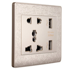 High quality 2.1A Wall Charger Station Panel Socket Adapter Power Outlet Dual USB Ports