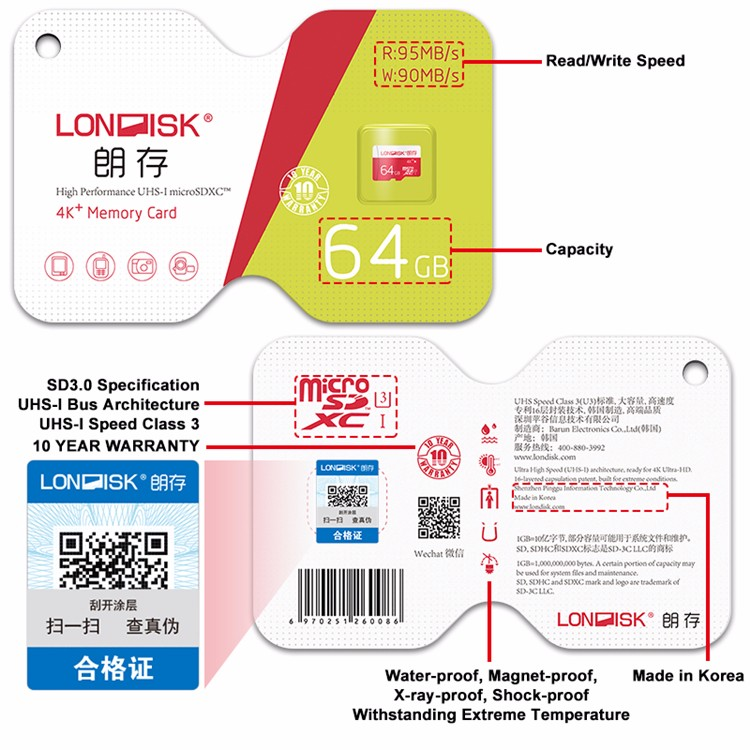 Londisk Micro SD Card 64GB Class10 UHS-3 Memory Card Flash Memory Microsd TF Card for Smartphone Pad Camera