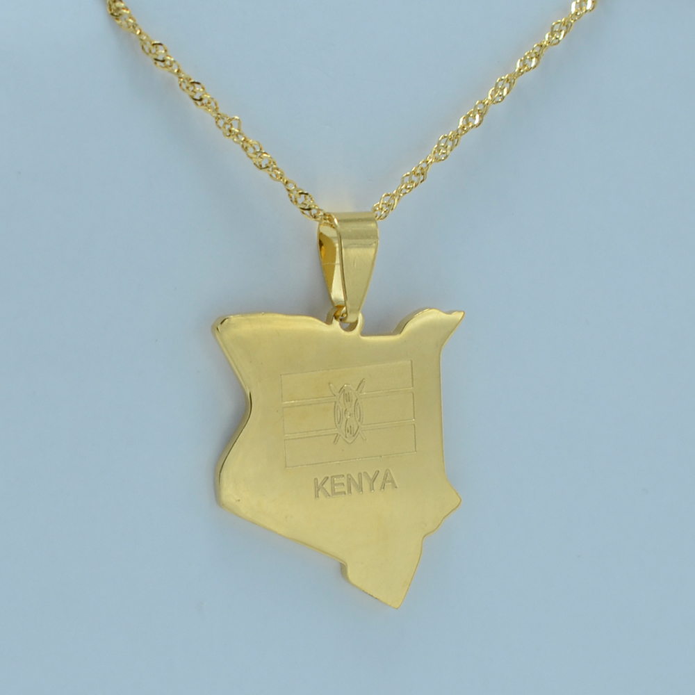 map of kenya pendant necklaces jewellery 18K gold plated africa country map jewelry kenyans necklace #022A210(China (Mainland))