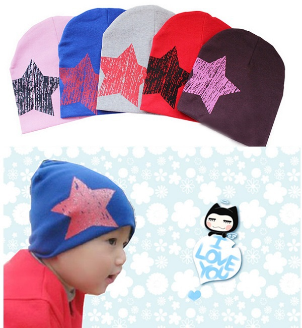 5 Colors Baby hat Floor price boys and girls baby beanies cute hat for child star cotton accessories caps 1 pcs(China (Mainland))
