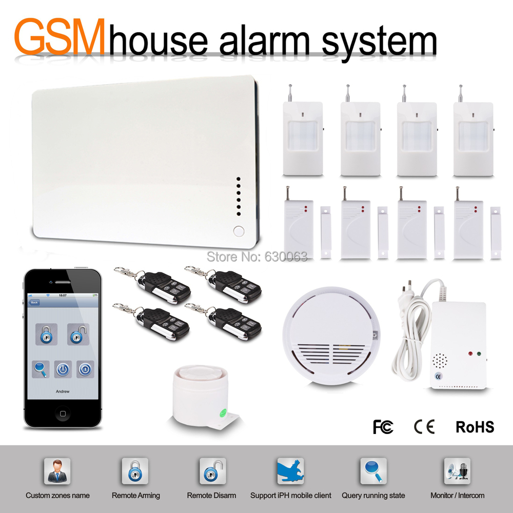 FREE SHIPPING iOS Apps Supported Smart Wireless Wired Burglar GSM Home Security Alarm System, Remote Control kit by SMS&Calling(China (Mainland))