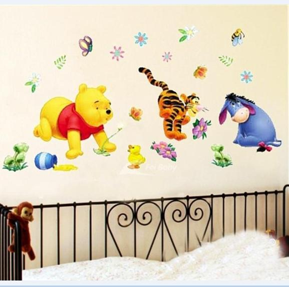 Winnie the Pooh DIY Vinyl Wall Stickers for kids rooms 3D Sofa house decoration Wall Art Decals home decor adesivo de parede(China (Mainland))