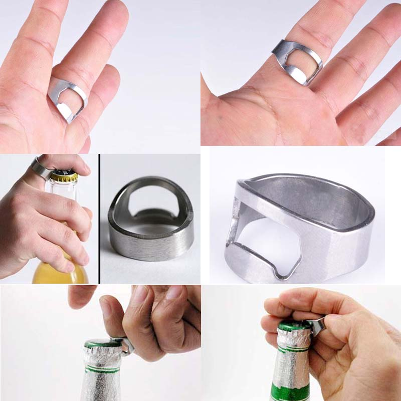 buy 1pcs stainless steel finger ring ring shape beer bottle opener for beer bar. Black Bedroom Furniture Sets. Home Design Ideas