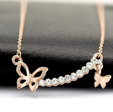 Wholesale Butterfly Short Necklace Female Design Chain Pendant Brides Rhinestone Necklace 18 K Real Gold Plated Jewelry for Gift(China (Mainland))