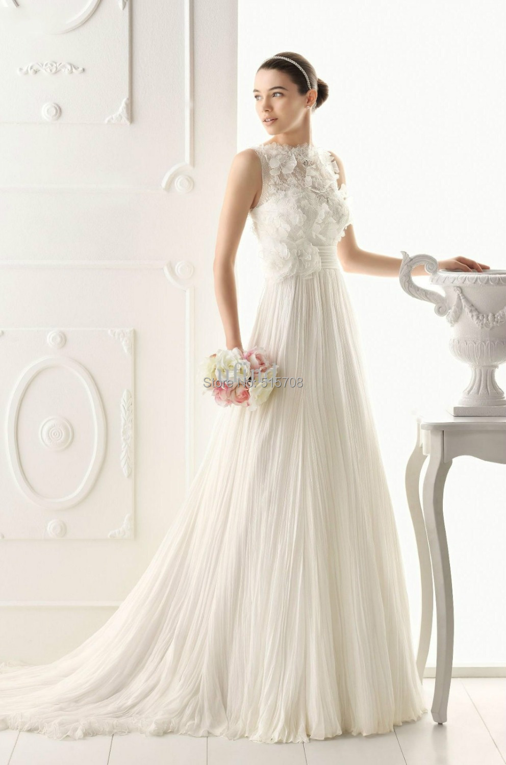 2015 sexy a line wedding dress lace tulle high neck for A line skirt wedding dress