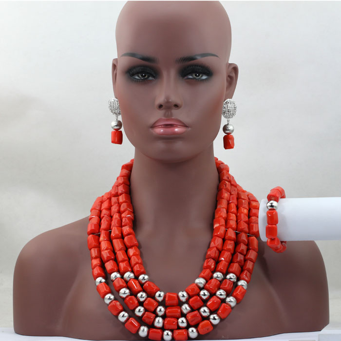 Gorgeous Coral Necklace Earrings Bracelet Jewelry Set Nigerian Wedding Jewellery Set for Brides Silver/Gold Plated HX762(China (Mainland))
