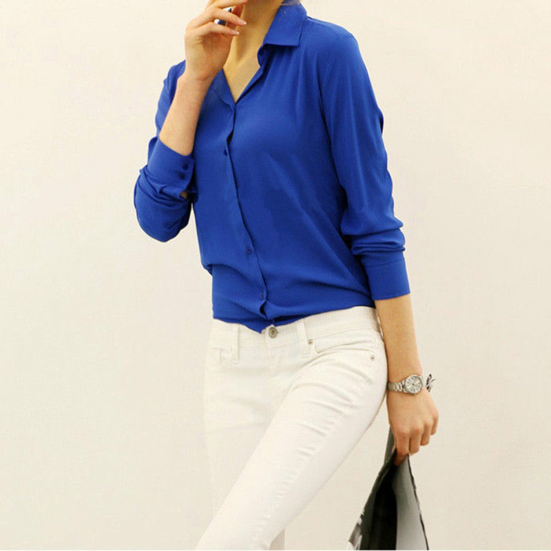 Fashion Womens Lady Casual Long Sleeve Turn-down Collar Chiffon Workwear Office OL Solid Color Loose Blouse Shirt Tops Blouse