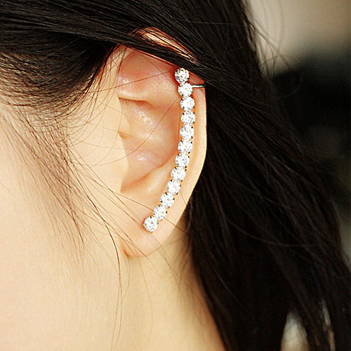 Pendientes 2015 New Fashion Rhinestone Ear Cuff Earring Shiny Crystal Punk Clip Earrings For Women Brincos Free shipping(China (Mainland))
