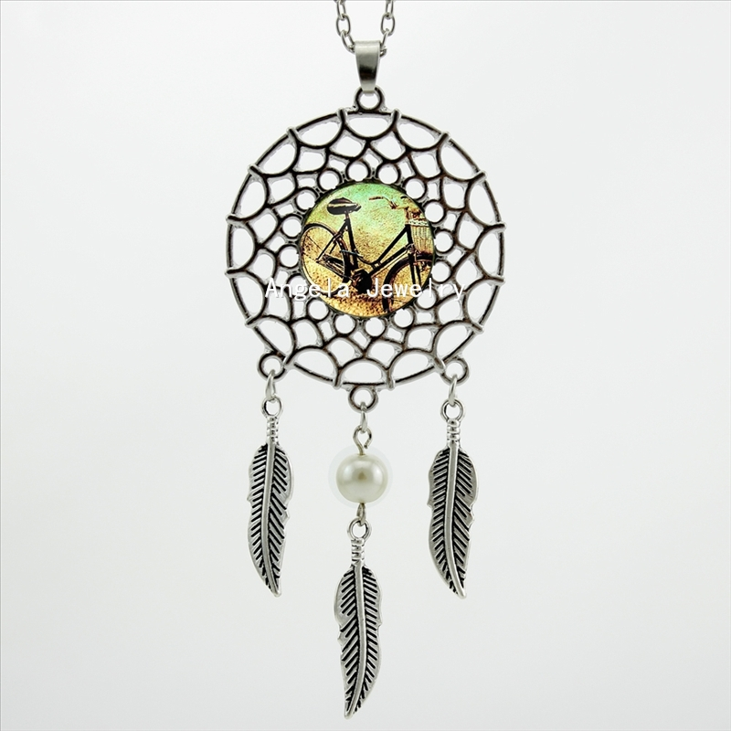 2016 Trendy Style Bicycle Necklace Dreamcatcher Pendant Vintage Bike Jewelry Dream Catcher Necklace(China (Mainland))