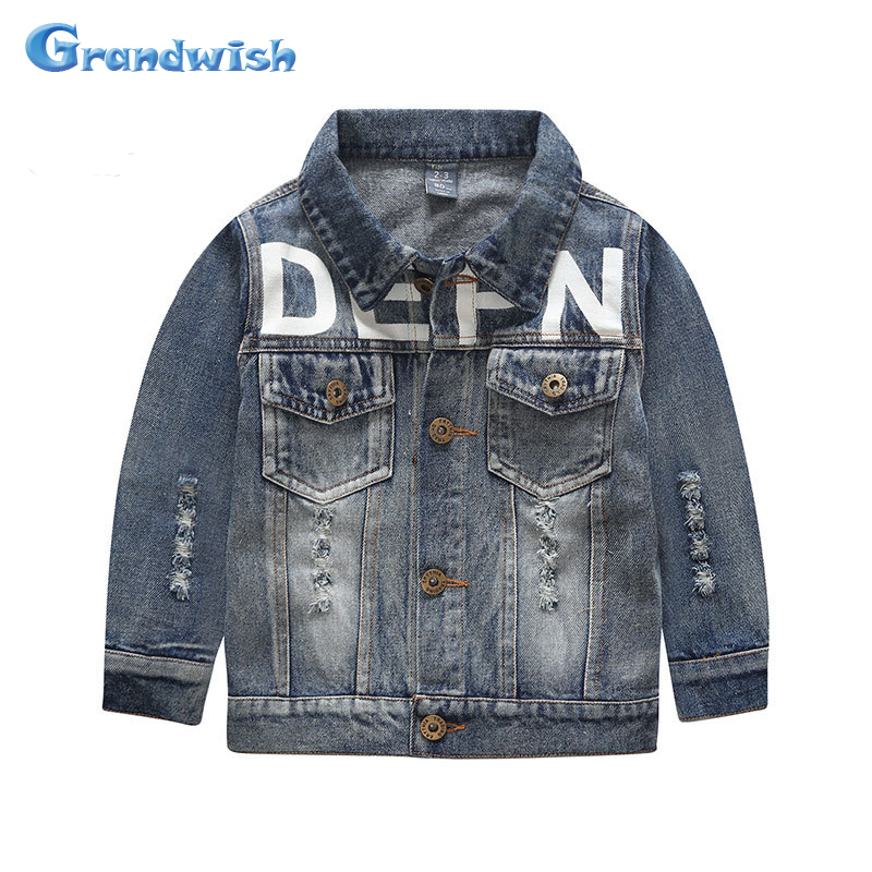 Grandwish 2016 New Kids Ripped Denim Jackets Boys and Girls Letter Print Washing Jeans Jacket Kids Coat Outerwear 24M-14T, SC225(China (Mainland))