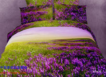 Beautiful comforters sets bedding comforter set queen size purple print 3D duvet quilt cover bed 100% cotton 4pcs scenery