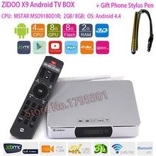 ZIDOO X9 Smart Android TV BOX 2GB / 8GB Bluetooth 4.0 Dual WIFI 2.4GHz/5.8GHz 7.1 Passthrough 4K H.265 USB3.0 Blu-ray KODI Dolby