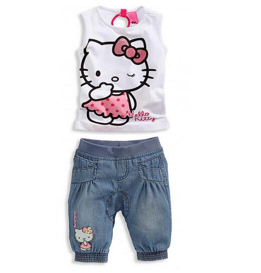 Комплект одежды для девочек Hello kitty set 2015 + комплект одежды для девочек little miss 2015 2 tz150311034