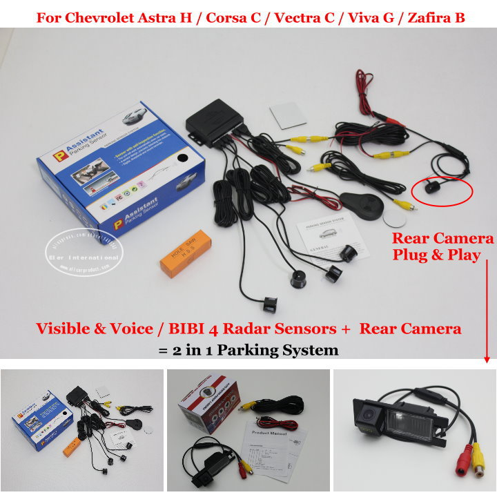 For Chevrolet Astra H Corsa C Viva G - Car Parking Sensors + Rear View Camera = 2 in 1 Visible &amp; Vioce BIBI Alarm Parking System<br><br>Aliexpress