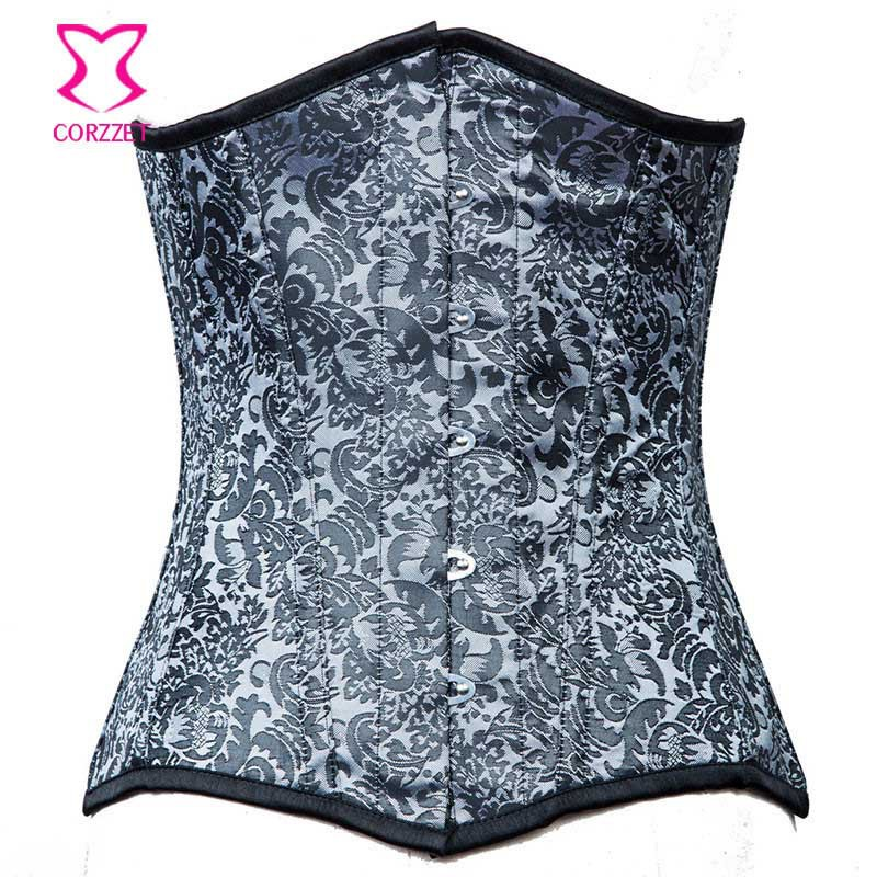 2015 Women Silver Corset Sexy Steel Boned Underbust Corset Steampunk Gothic Clothing Waist Training Corsets and