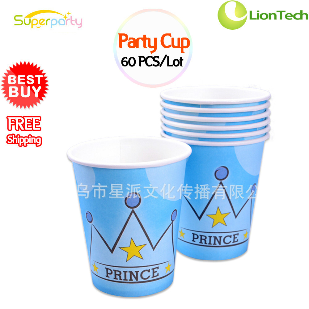 NEW 60 PCS/Lot Child Party Cup Cups Pure Wood Pulp Cup Cute Prince Crown Design Birthday Party Christmas Festive Drinks Drinking(China (Mainland))