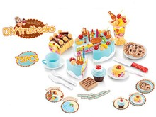 75pcs Kids Kitchen Toys Birthday Cake Cut Toys Pretend Play Plastic Food Toys Kitchen Cake Games Children Girl Cocina Juguete(China (Mainland))
