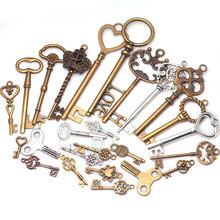 Mixed Keys charms Vintage Metal Zinc Alloy Fine Trendy Mixed Pendant Charms Making 40pcs C8321(China (Mainland))